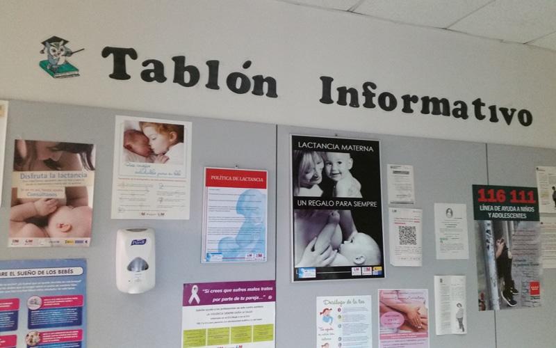 Tablón informativo del Centro de Salud Santa Mónica