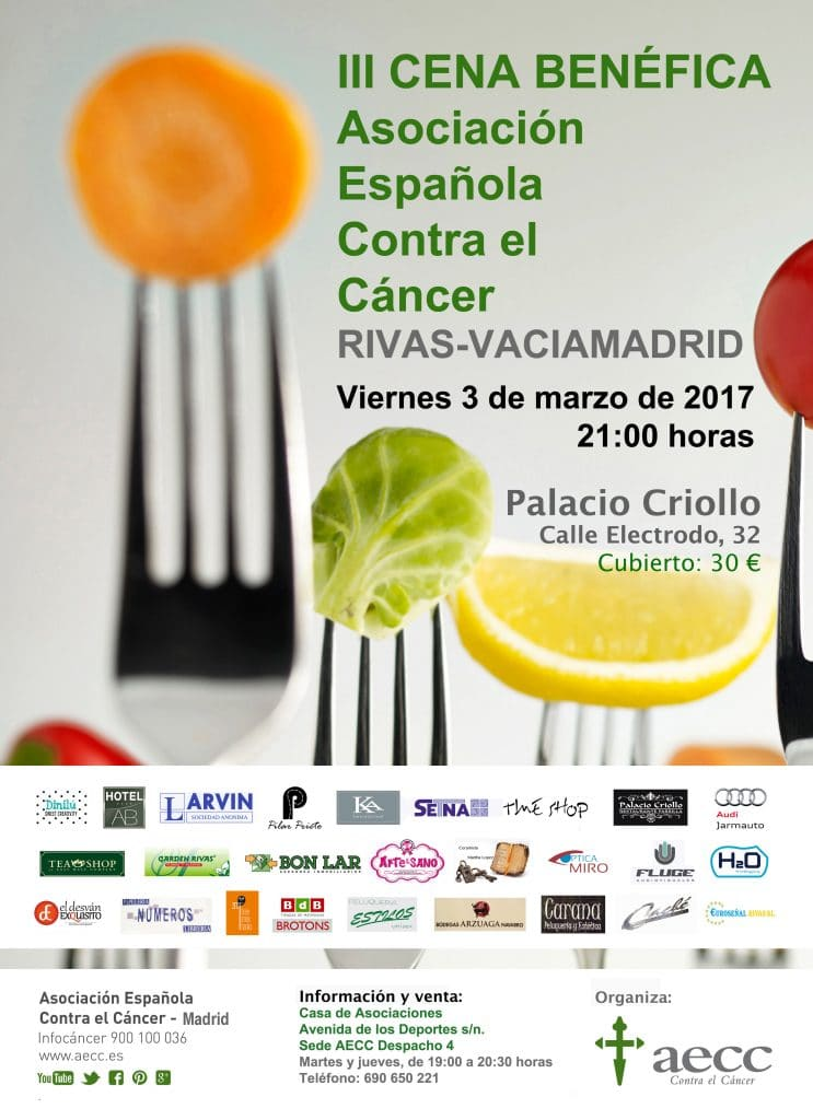 Cartel de la cena de la AECC en Rivas