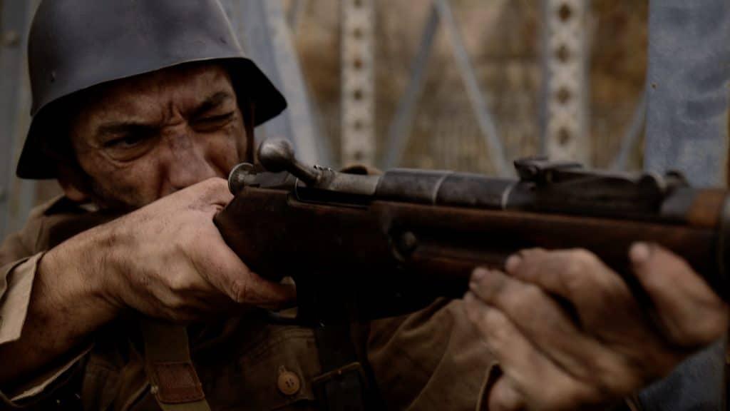 Soldado. Fotograma del corto 'Jarama'. (Fuente: Alberto Pla).