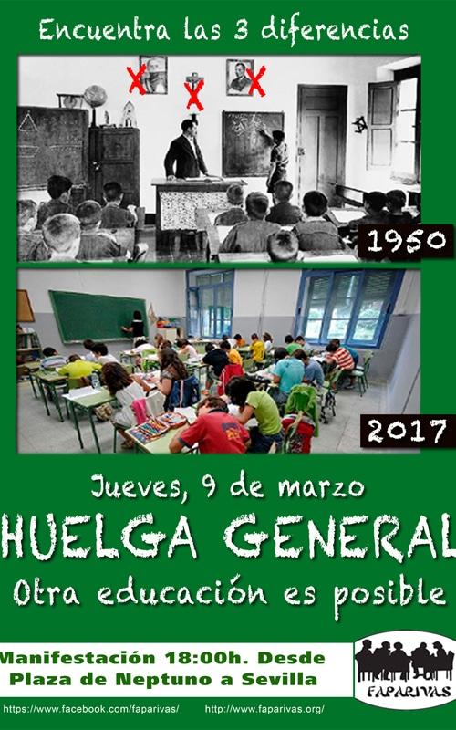 Cartel de la huelga de Educación convocada para el 9 de marzo