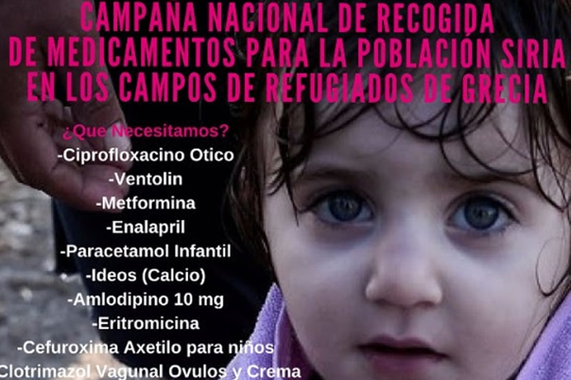 Recogida de medicamentos para la población siria de los campos de refugiados