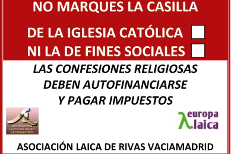 La Asociación Laica de Rivas lanza su campaña anual del IRPF