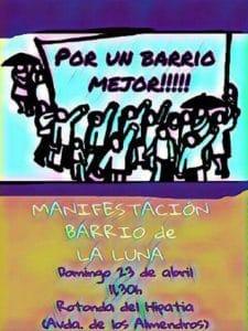 Cartel de la manifestación del barrio de la Luna
