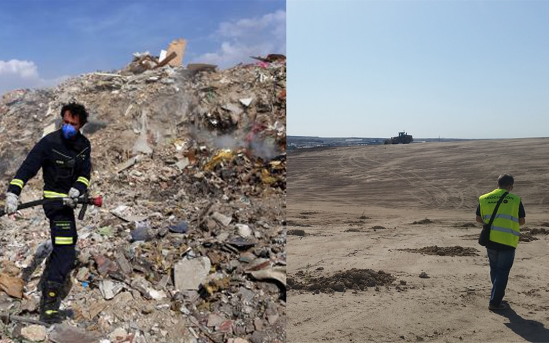 Vertedero ilegal junto a la A-3: de 'volcán' de basura a futura zona verde