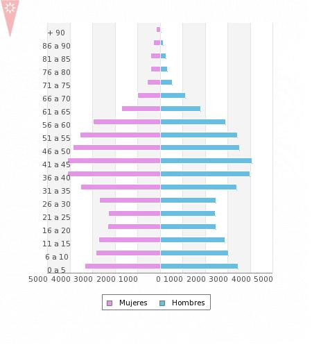 Pirámide de población de Rivas a fecha de 28 de febrero de 2017 (Fuente: Ayuntamiento de Rivas Vaciamadrid).
