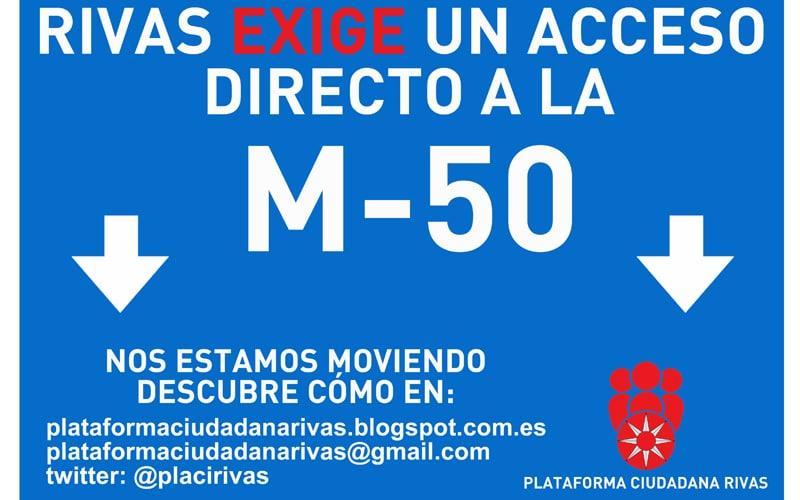 Cartel de campaña para exigir un acceso desde Rivas a la M-50 (Fuente: Plataforma Ciudadana de Rivas)