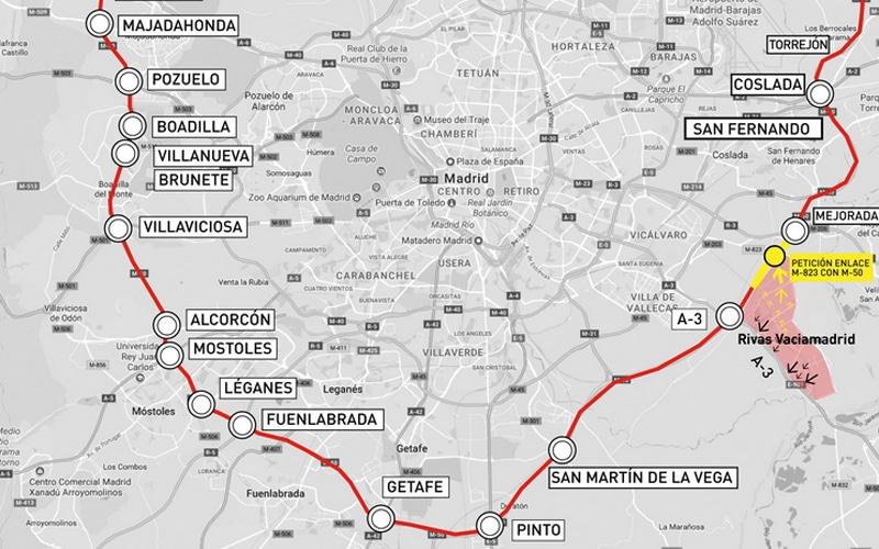 Mapa del trazado de la M-50 (Fuente: Ayuntamiento de Rivas Vaciamadrid)