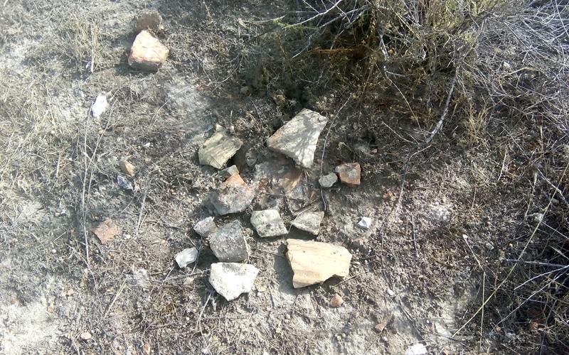Restos arqueológicos en superficie en las ruinas del castillo de Ribas de Jarama
