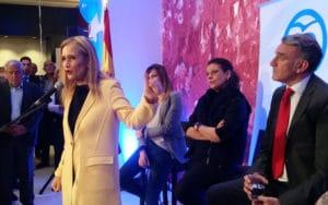 Cristina Cifuentes, durante su discurso en el PP de Rivas
