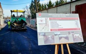 Obras de asfaltado de la Cañada Real a su paso por Rivas