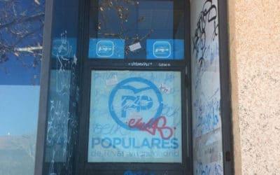 La sede del PP de Rivas sufre su segundo acto vandálico en veinte días