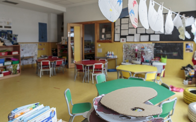 Un aula del colegio Hipatia-FUHEM