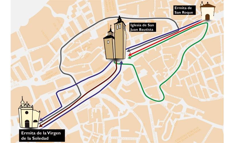 Plano de procesiones de Arganda del Rey en 2018 (Fuente: Ayuntamiento de Arganda del Rey)