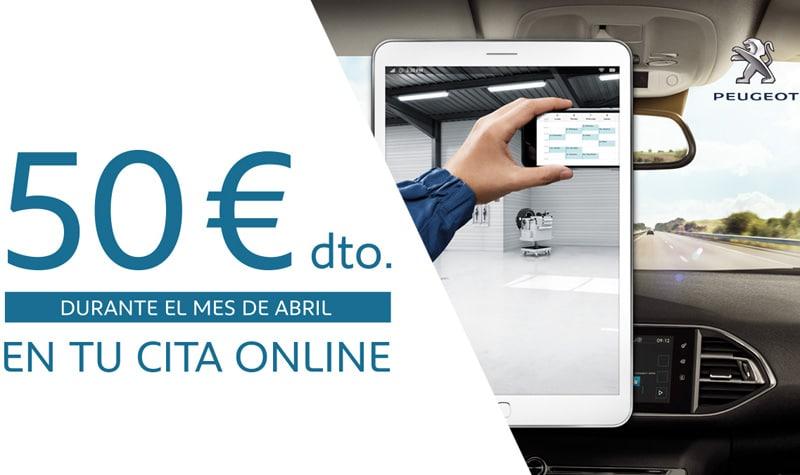Pide cita online en tu servicio oficial Peugeot Iluscar y obtén 50 euros de descuento