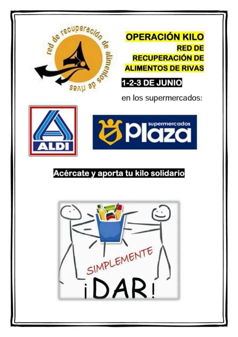 Cartel de la Operación Kilo de la Red de Recuperación de Alimentos de Rivas.