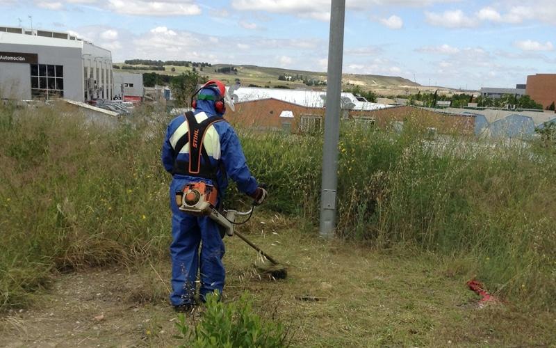 Jardinero de Rivamadrid realiza labores de desbroce en una parcela municipal (Fuente: Diario de Rivas)