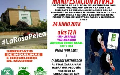 Cartel de la manifestación convocada por los vecinos de Rosa de Luxemburgo junto a las PAH de Rivas y Arganda y el Sindicato de Inquilinos de Madrid.
