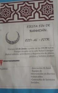 Imagen de un folleto que anuncia la fiesta del fin del Ramadán difundida por el PP de Rivas Vaciamadrid