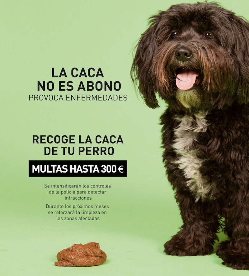 Cartel de la campaña 'La caca no es abono, produce enfermedades'.