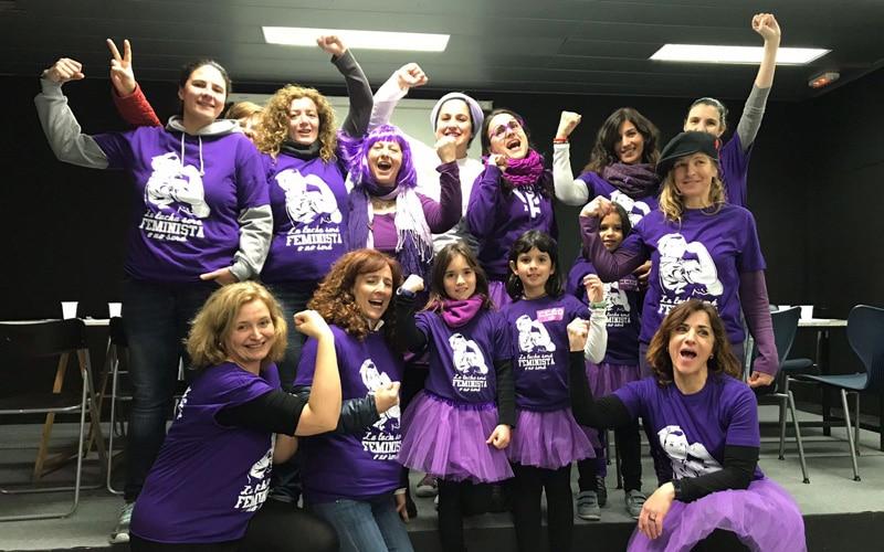 Mujeres de la Asamblea 8M de Rivas, en la huelga de 2018