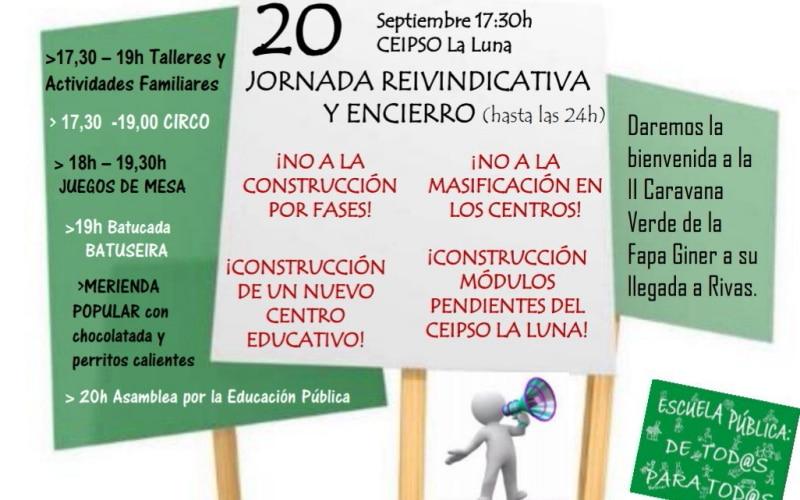 Este jueves, movilizaciones y encierro en Rivas por la educación pública