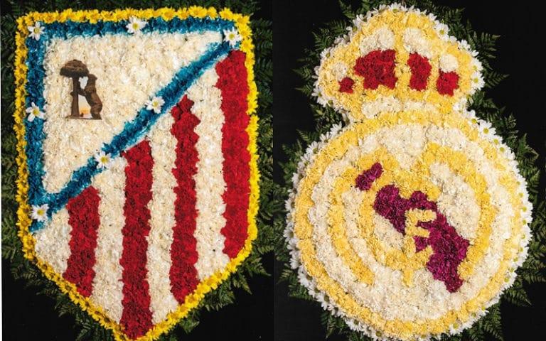 Coronas de flores del Atleti y del Real Madrid para Todos los Santos
