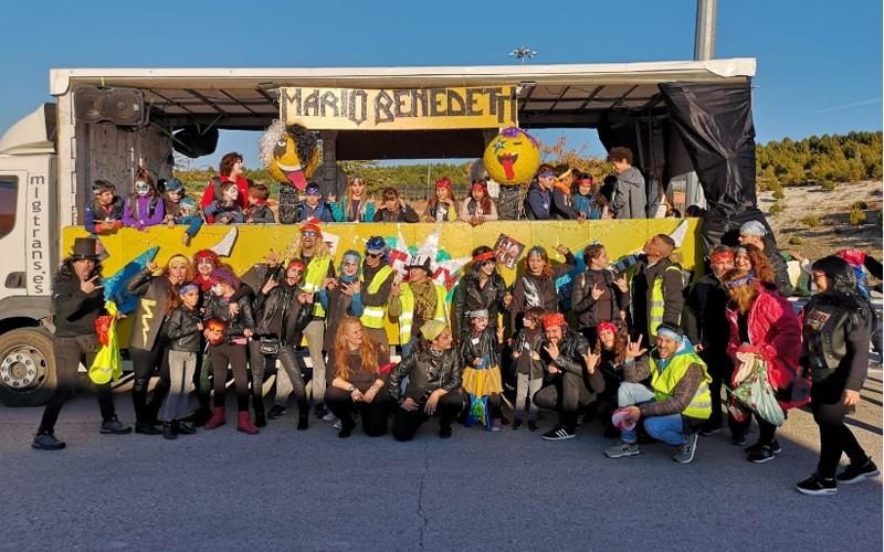 Carroza del colegio Mario Benedetti en la Cabalgata de Rivas 2019