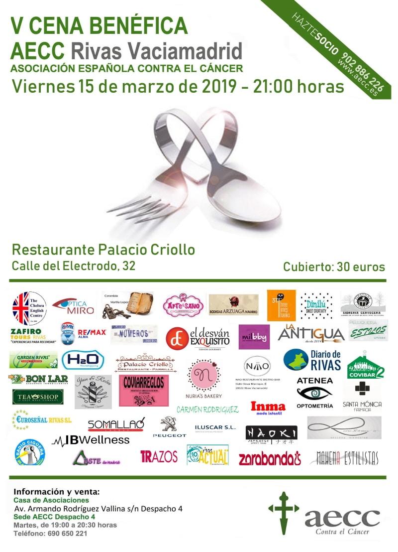 Cartel de la V Cena Benéfica de la AECC en Rivas