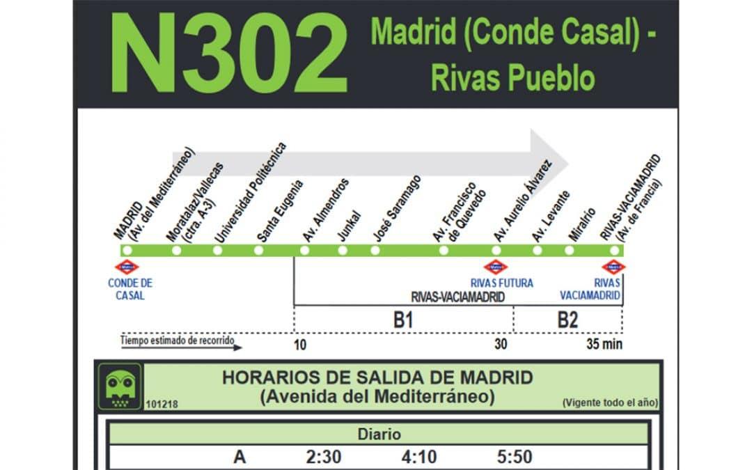 La línea nocturna N302, que conecta Rivas con Conde de Casal, contará con dos nuevas paradas