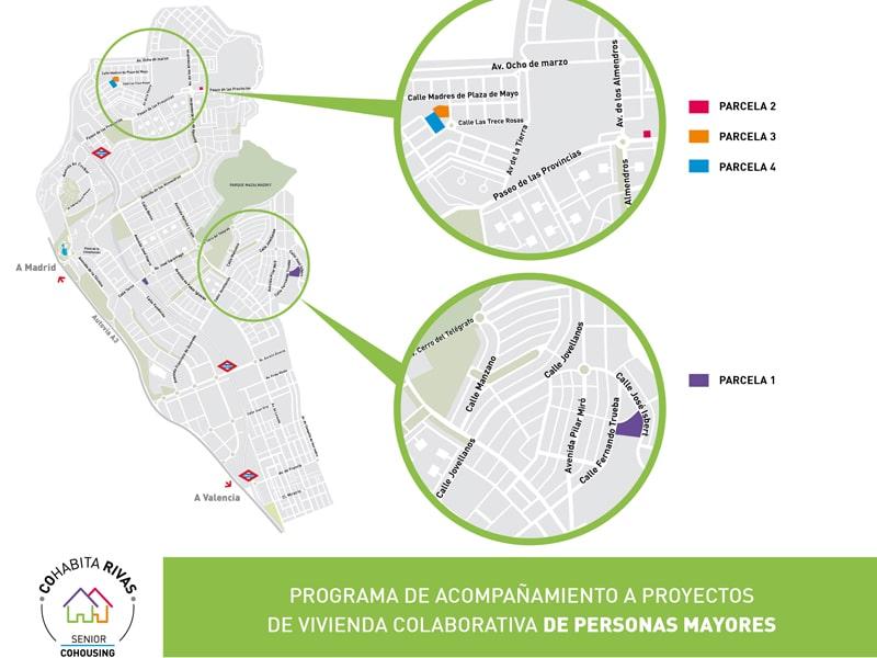 Parcelas reservadas para el proyecto Cohabita Rivas de 'senior cohousing'