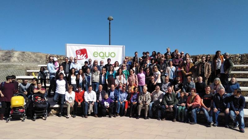 Foto de familia de la presentación de Pedro del Cura como candidato de IU-Equo en Rivas
