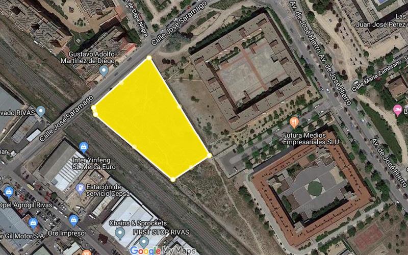 Parcela cedida a la Comunidad de Madrid para la construcción de la cuarta estación de Metro de Rivas