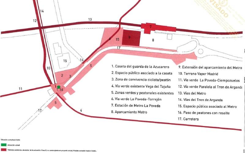Plano del entorno de la Azucarera en Arganda