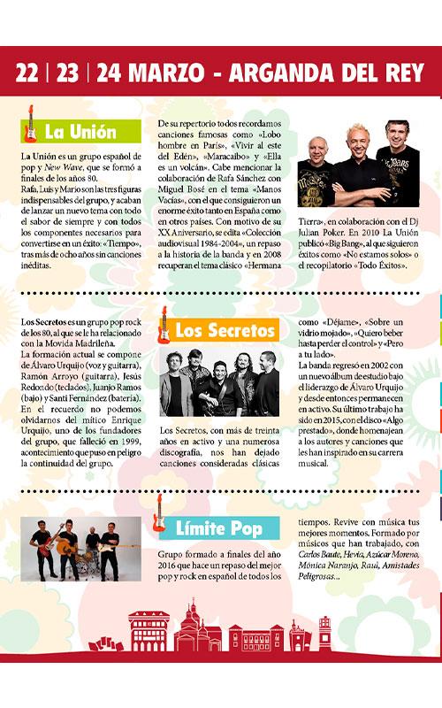 Descripción de los grupos españoles de música pop: Los Secretos, Límite Pop y La Unión