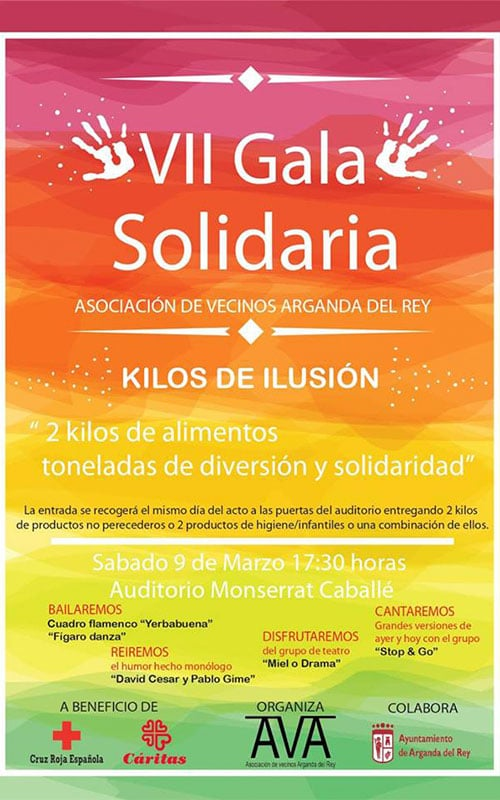 VII Gala solidaria. Kilos de ilusión. Asociación de Vecinos de Arganda.