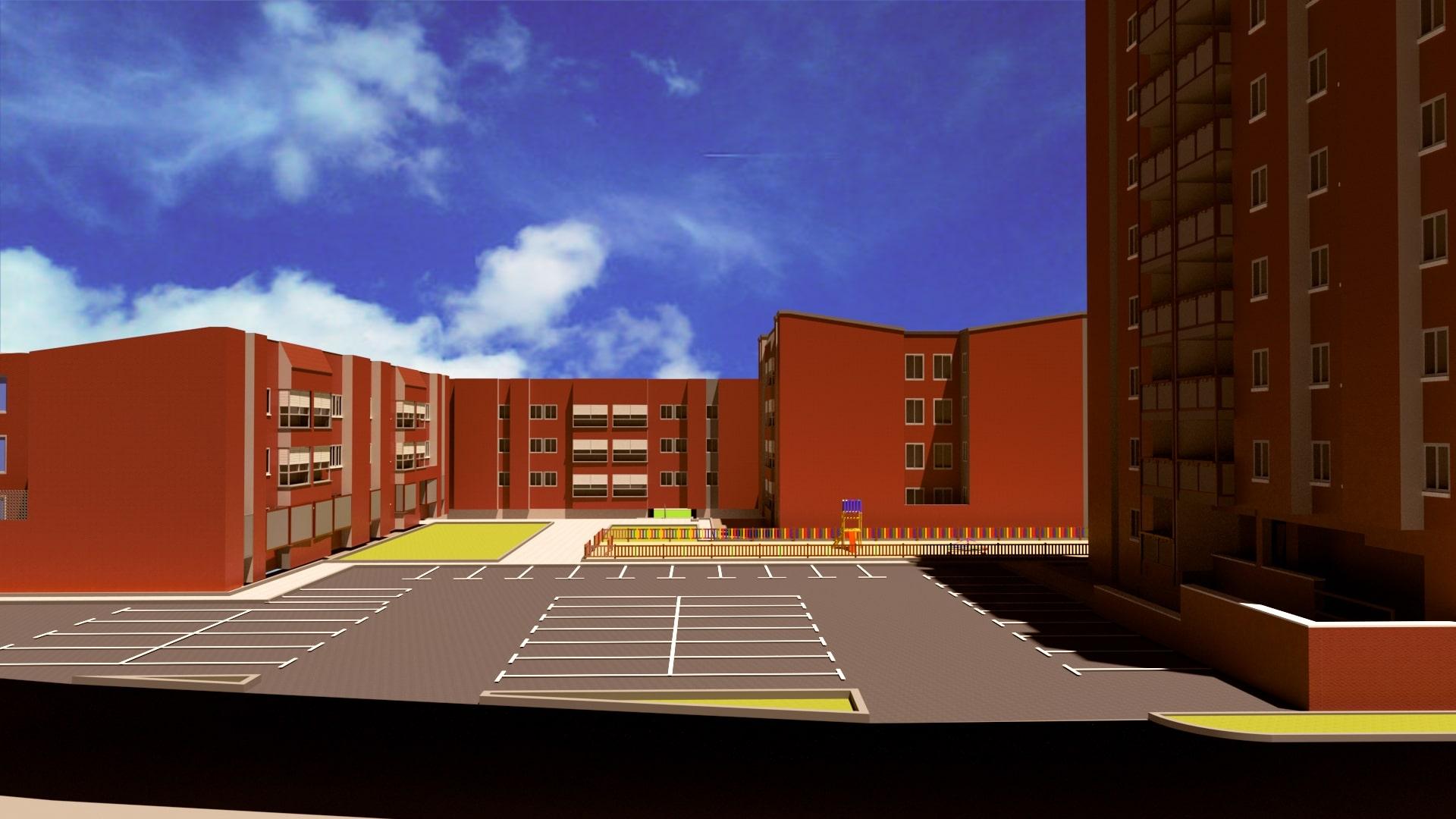 Simulación del aspecto del barrio con acabados en un color único (rojo)