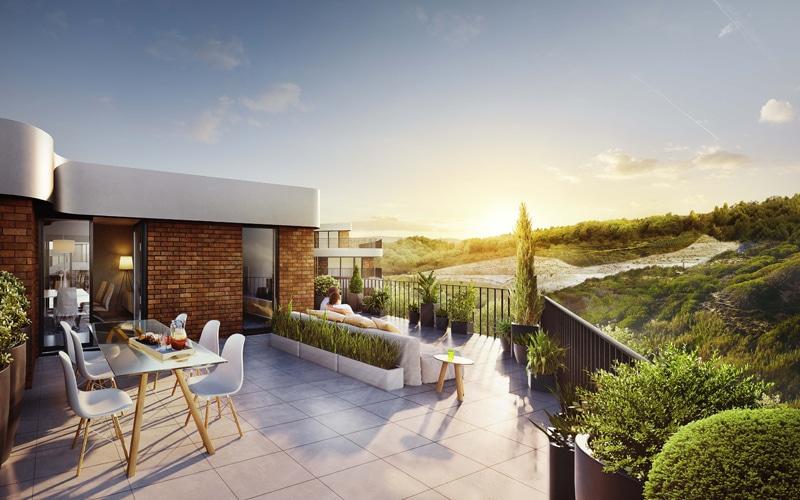 Terrazas frente a la naturaleza en Residencial Melbourne de Rivas Vaciamadrid