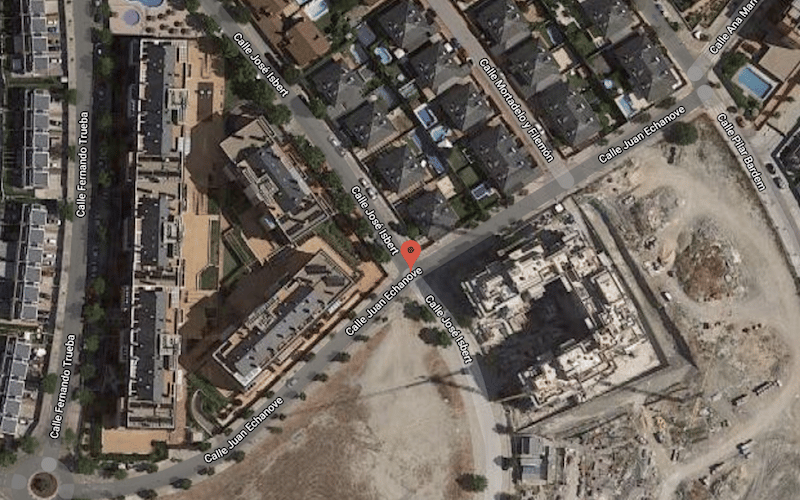 Vista aérea del entorno de la calle José Isbert (foto: Google Maps)