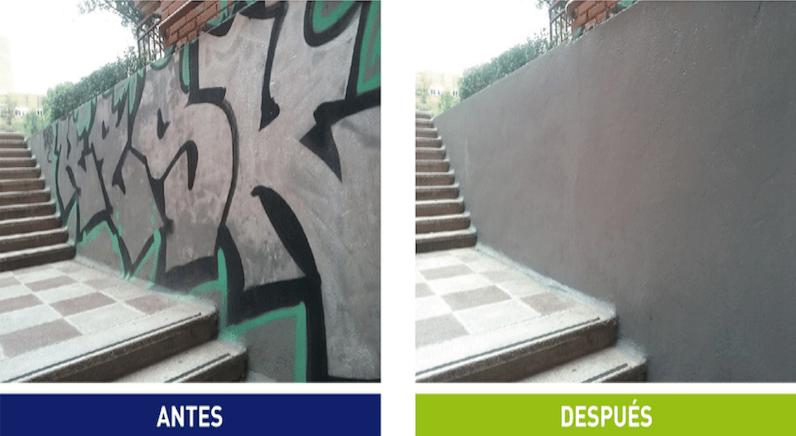 Rivamadrid intensifica y mejora el servicio de limpieza de pintadas en fachadas y mobiliario urbano