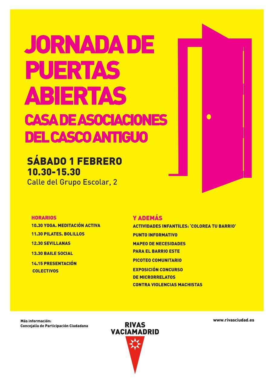 Cartel puestas abiertas Casa de Asociaciones Casco Antiguo