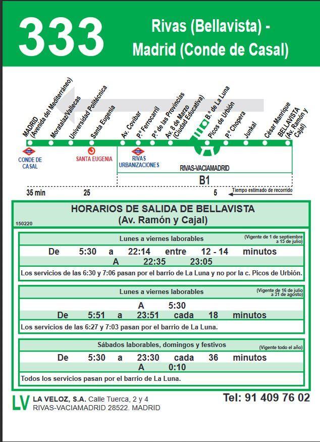 333 Rivas madrid horario