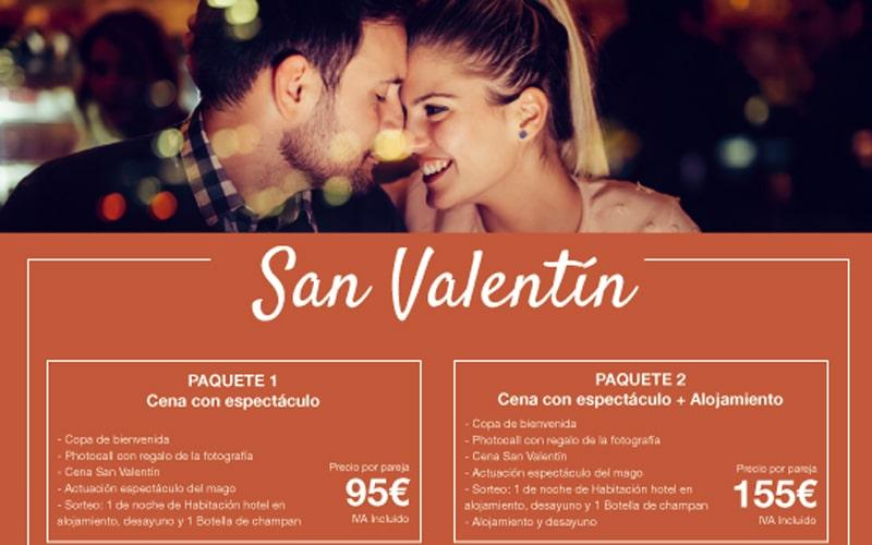 Celebra San Valentín con una romántica cena espectáculo en el Hotel AB Rivas