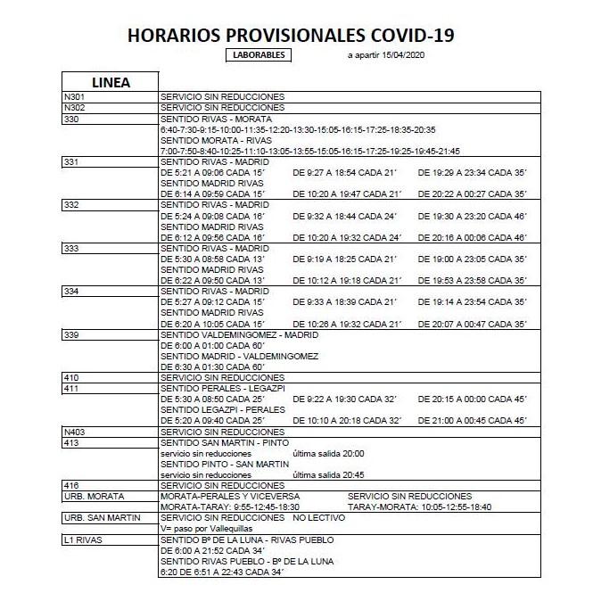 Horarios de autobuses de La Veloz en Rivas Covid-19 durante el estado de alarma