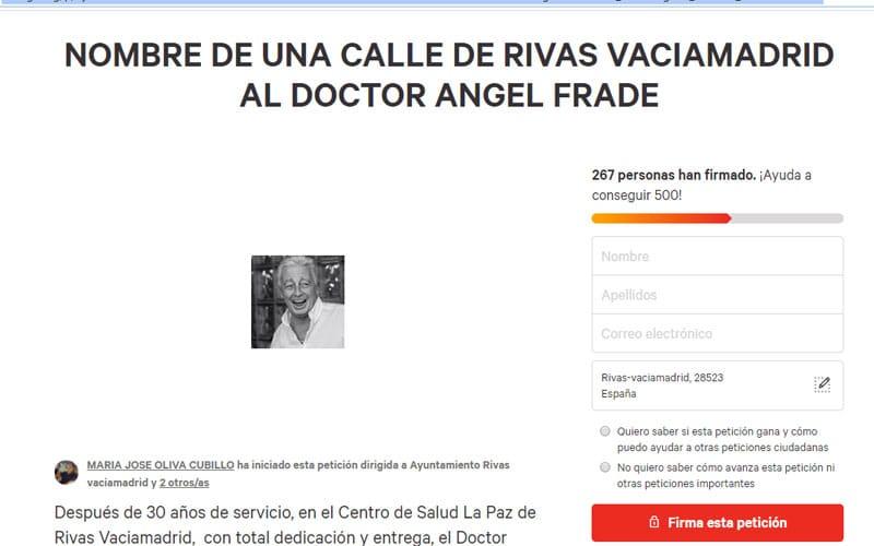Vecinos de Rivas piden poner una calle al doctor Ángel Frade