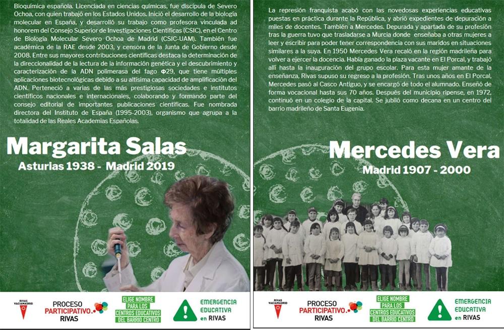 Instituto Margarita Salas y colegio Mercedes Vera: los futuros centros educativos de Rivas ya tienen nombre, pero no fecha
