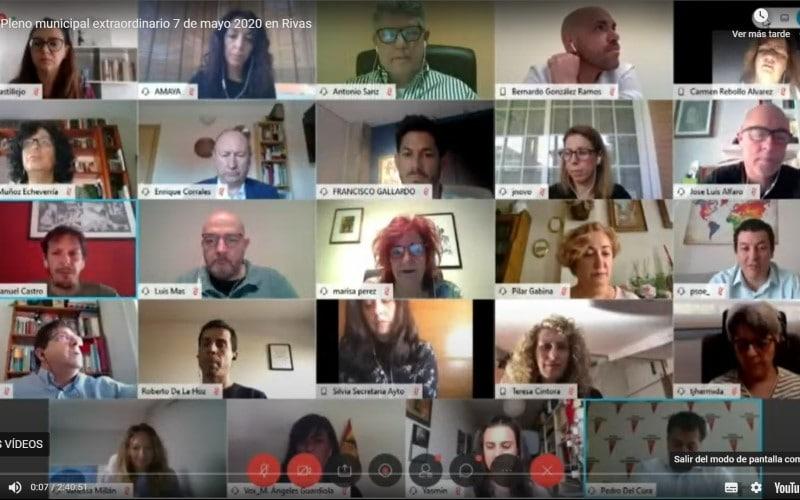 El primer Pleno telemático de la historia de Rivas lanza un mensaje de unidad frente a la pandemia