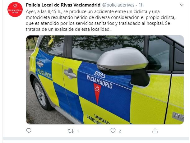 La Policía Local informa del percance sufrido por un exalcalde de Rivas