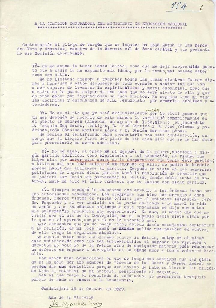 Expediente depuración franquismo Mercedes Vera