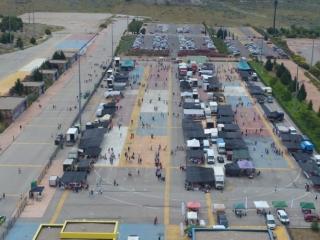 Vista aérea del mercadillo Mercado Central de Rivas durante la desescalada