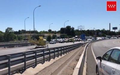 Un motorista herido tras sufrir un accidente en la A-3, a la altura de Rivas